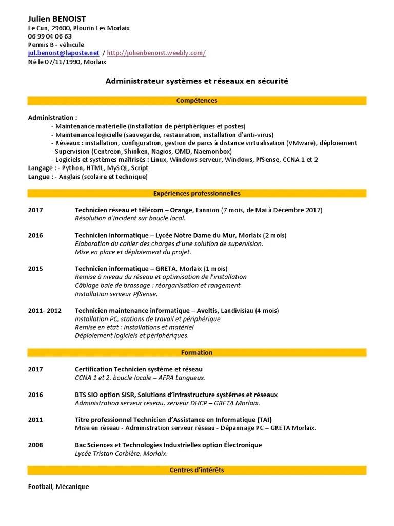 Julien Benoist Cv Iut Sept Logiciel Systeme Technologie Numerique