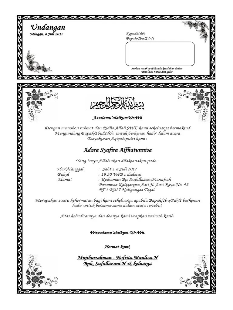 362331299 Contoh Undangan Aqiqah Docx Docx
