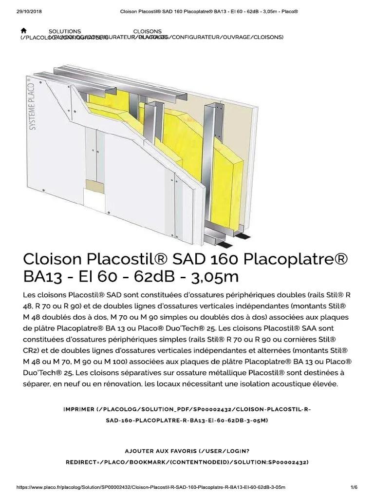 Cloison Placostil Sad 160 Placoplatre Ba13 Ei 60 62db 3 05m Placo Pdf