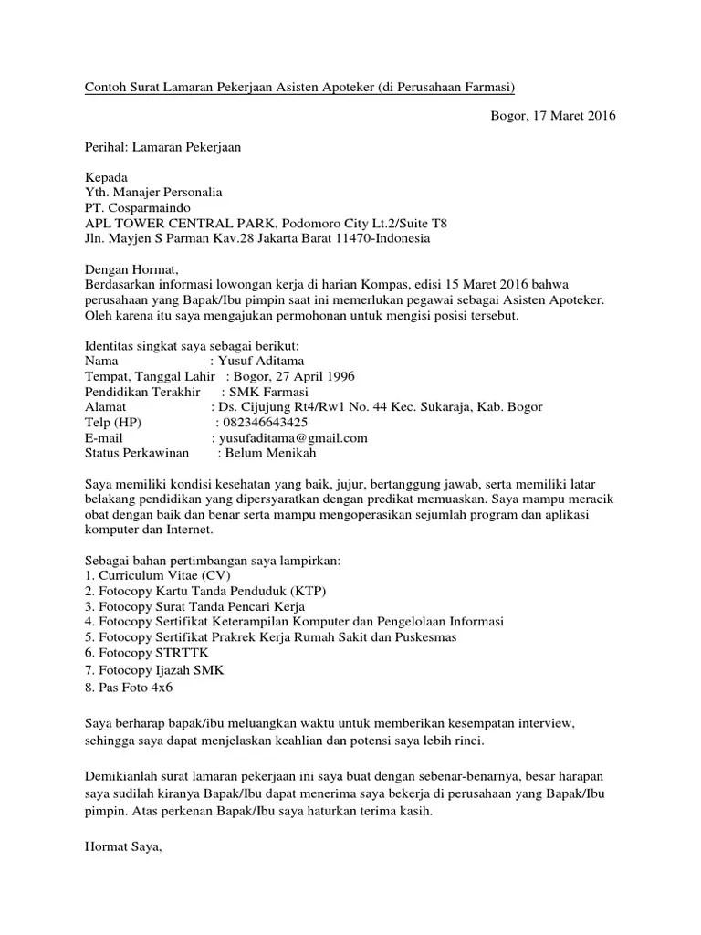 18 Contoh Surat Lamaran Kerja Farmasi Di Apotek