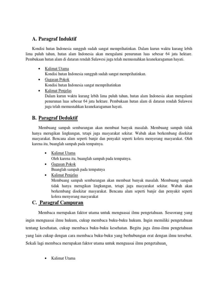 Contoh Kalimat Induktif Deduktif Dan Campuran : contoh, kalimat, induktif, deduktif, campuran, Contoh, Paragraf, Deduktif, Induktif, Campuran, Tentang, Kesehatan