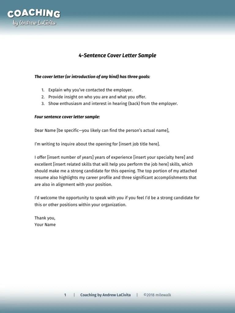4 Sentence Cover Letter V3 Andrew Lacivita Pdf Job Interview Employment