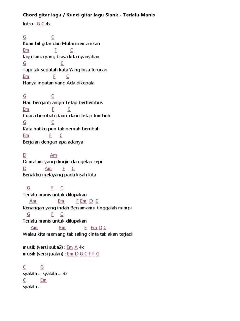 Chord Ku Ambil Gitar : chord, ambil, gitar, Slank, Terlalu, Manis, Chord