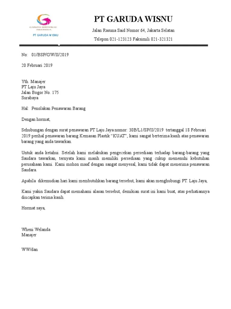 Surat Penolakan Kerjasama : surat, penolakan, kerjasama, Contoh, Surat, Tawaran, Kerja, Sebagai, Pemandu