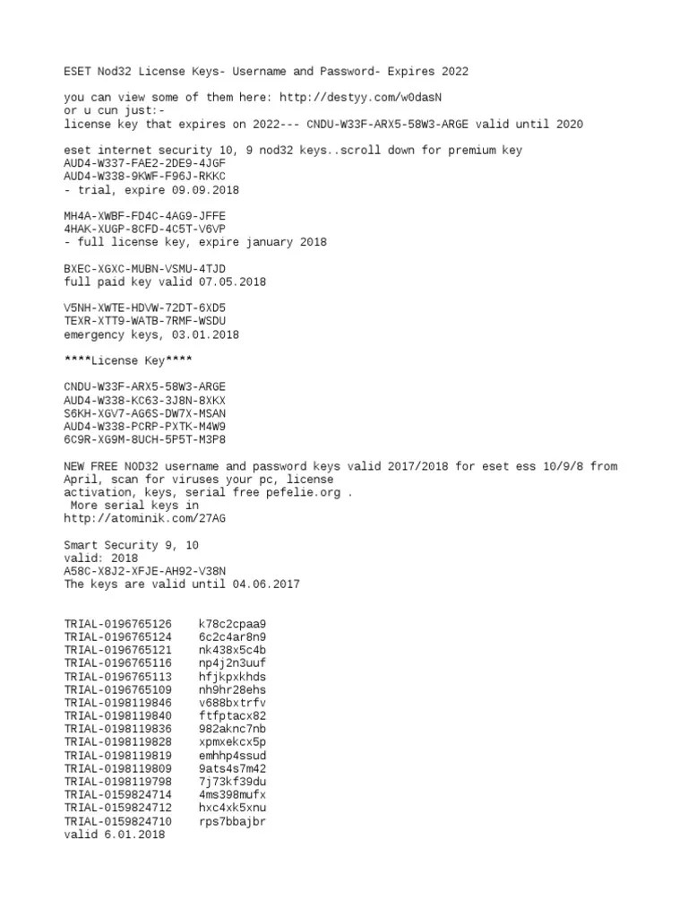 Eset Nod32 Antivirus License Key 2022