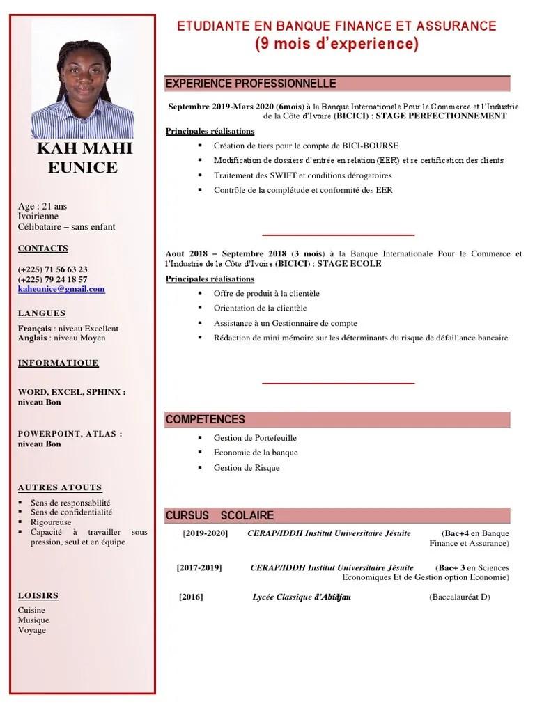 Cv Kah Eunice Banques Affaires