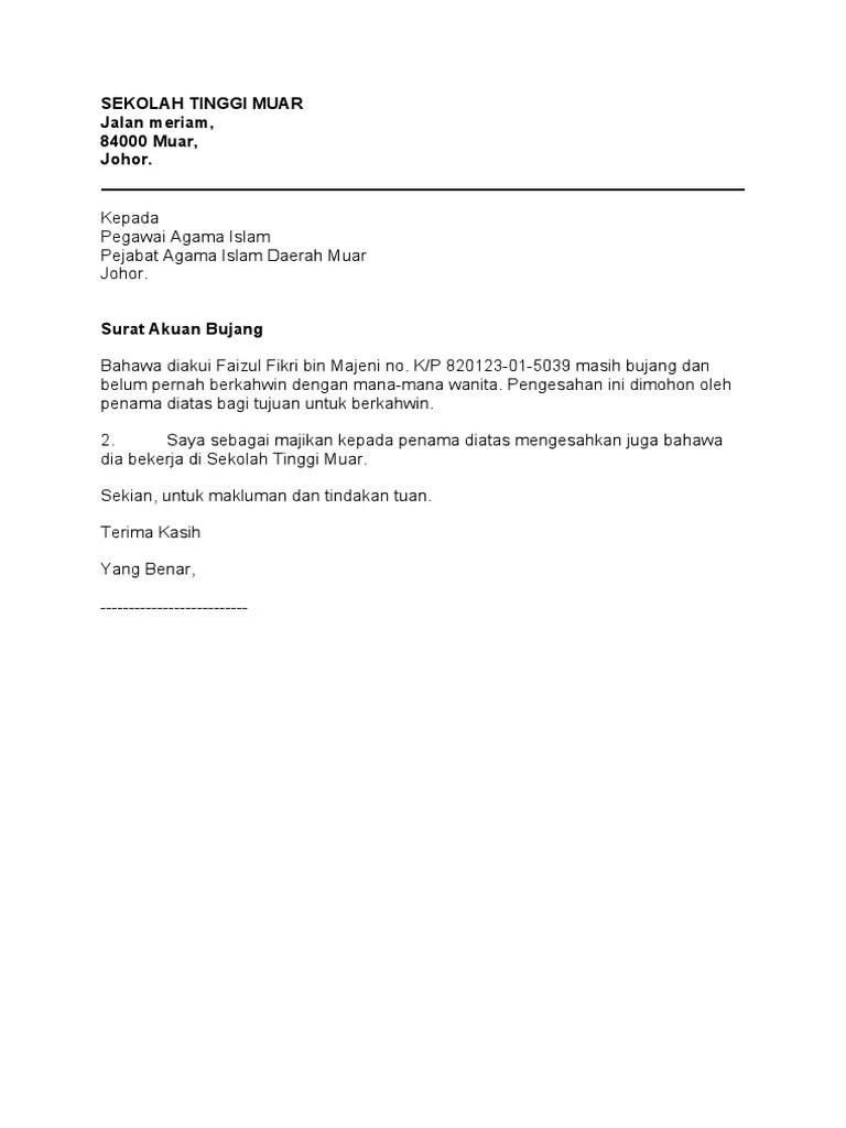 Contoh Surat Akuan Bujang Perempuan Download Kumpulan Gambar