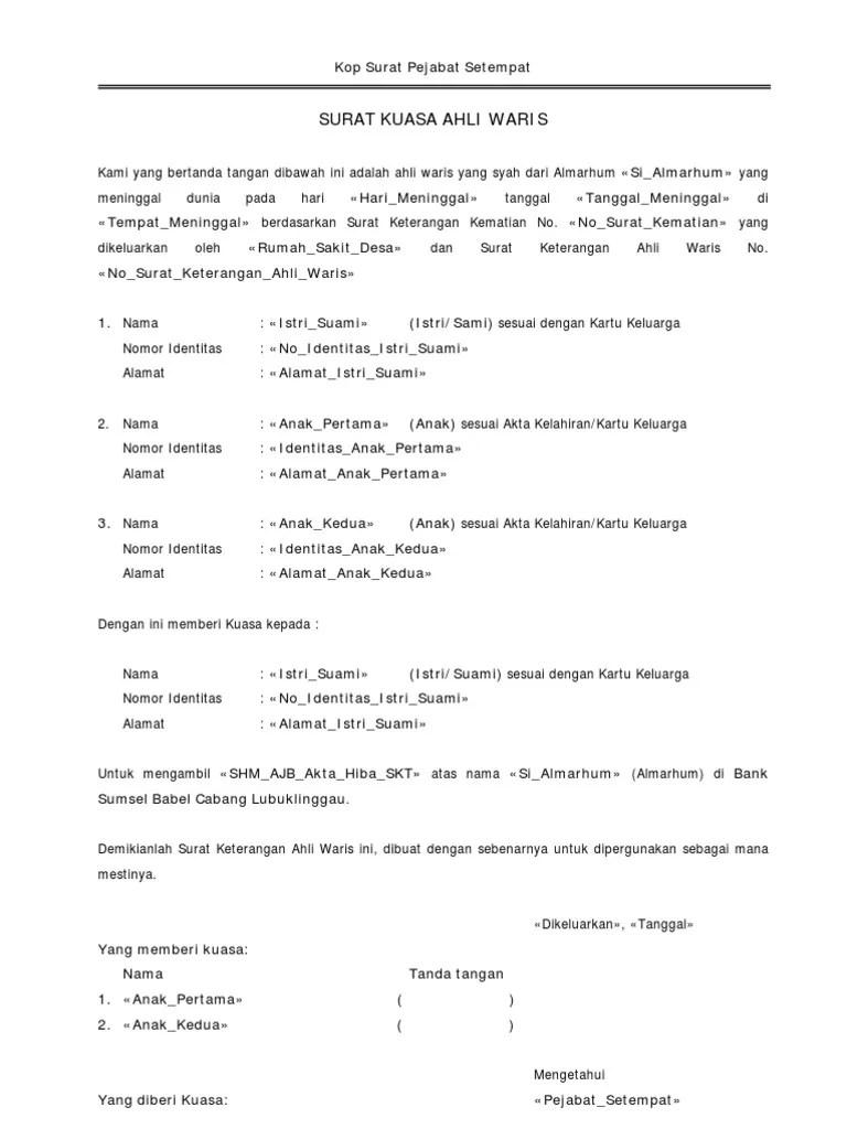 Terkini Contoh Surat Keterangan Ahli Waris Untuk Bank