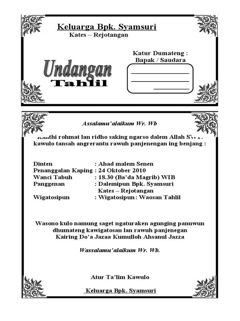 Contoh Surat Undangan Sunatan Dalam Bahasa Jawa