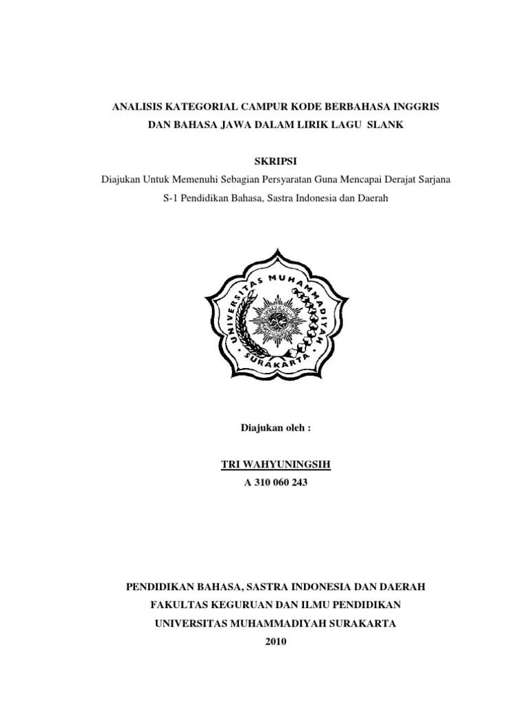 Judul Skripsi Bahasa Inggris Universitas Indonesia Contoh Surat