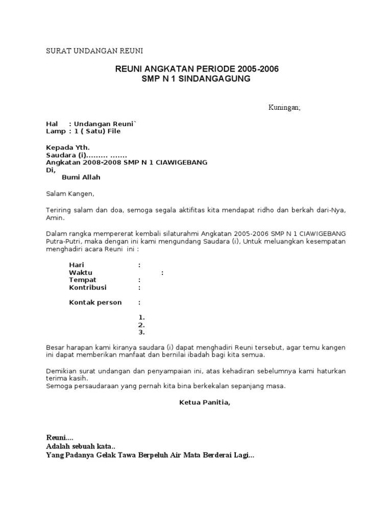 Contoh Surat Undangan Reuni Sekolah Suratsurat Xyz