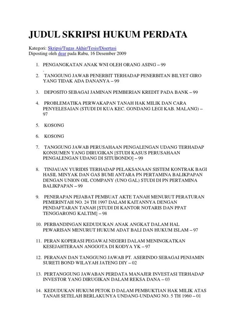 14 Judul Skripsi Hukum Perdata Tentang Koperasi