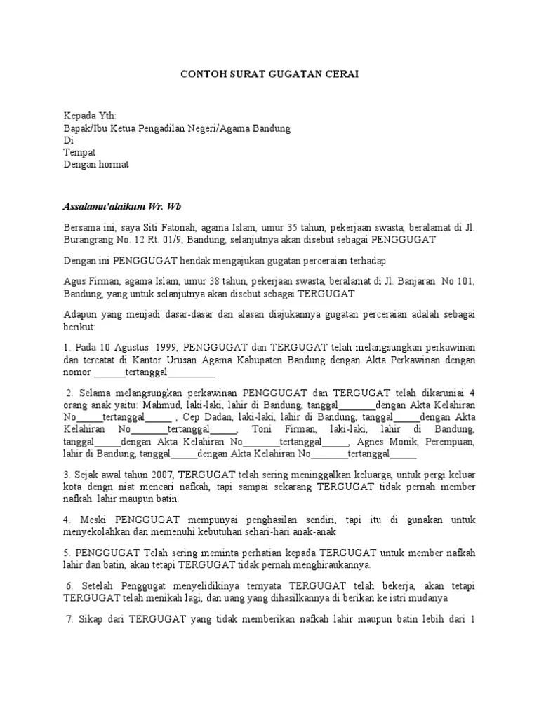 14 Contoh Surat Gugatan Cerai Non Muslim Pdf