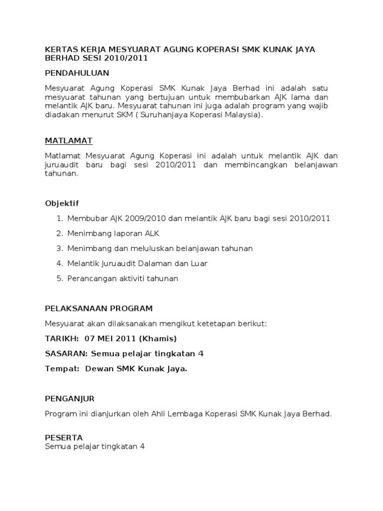 Contoh Laporan Audit Dalaman Koperasi