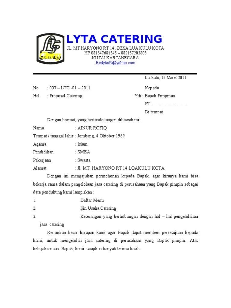 Contoh Proposal Penawaran Catering Ke Perusahaan Download Kumpulan Gambar