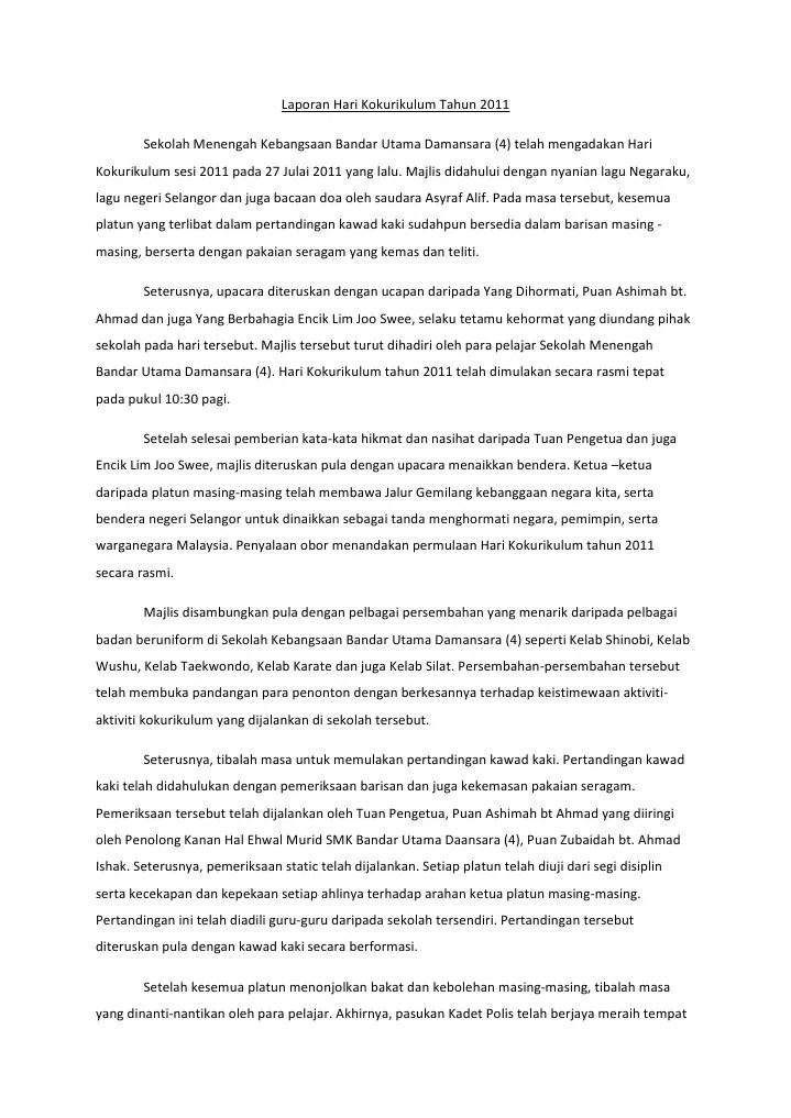 Contoh Karangan Laporan Aktiviti Kokurikulum