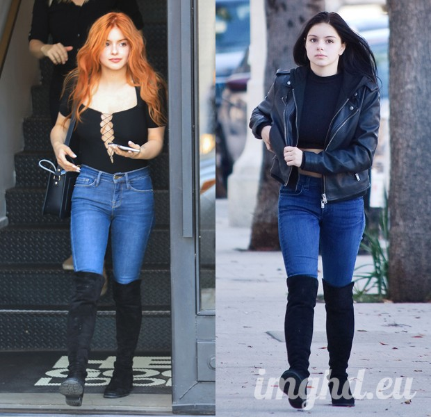 Ariel Winter after her hair makeover (L) and before with brunette hair (R)