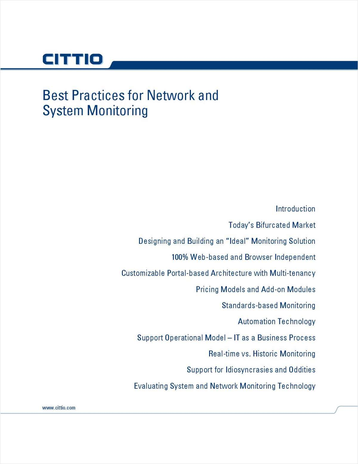 Best Practices For Network And System Monitoring Free Cittio Inc White Paper