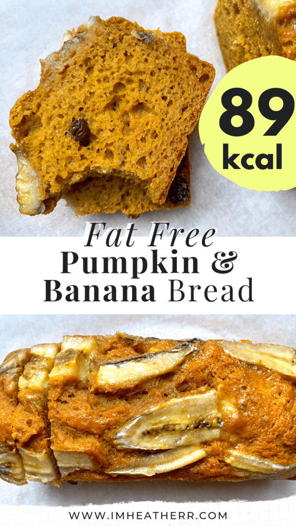 fat free pumpkin puree banana bread low fat, skinny, hearty and perfect for the fall. full of cozy autumn flavors and so low in calories! a must have for thanksgiving.