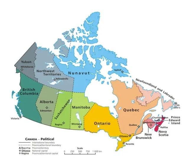 Mapa do Canadá mostrando a Província de Nova Scotia e sua capital Halifax