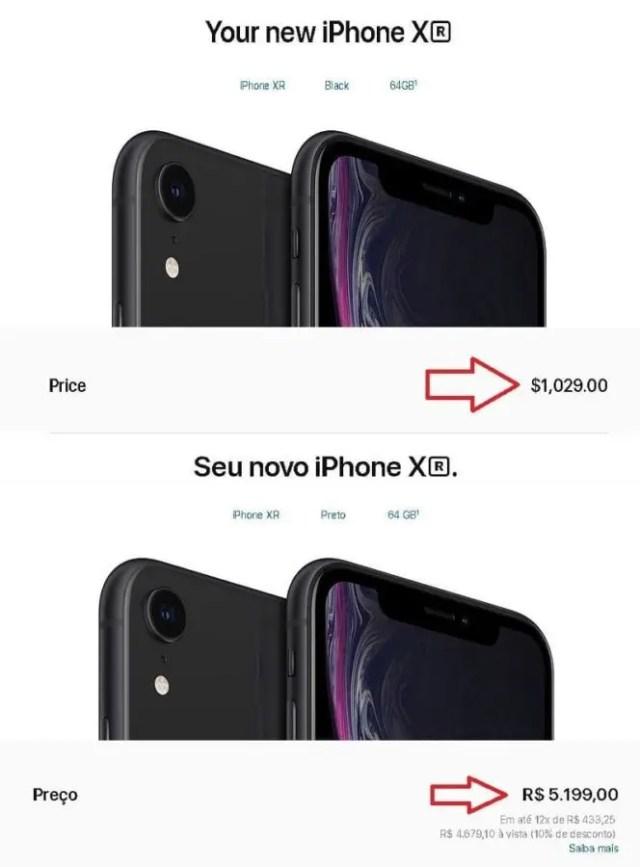 comparação iphones Canadá x Brasil