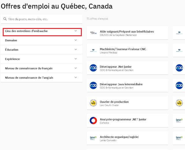 Vagas do Processo de Seleção para morar em Quebec City