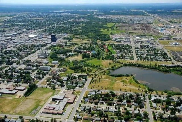 Cidade de Grande Prairie em Alberta no Canada