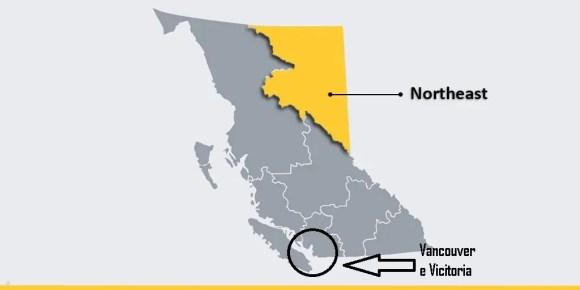 northeast na província de British Columbia - BC