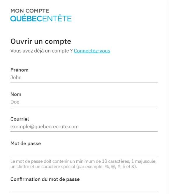 Tela de criação de perfil no site do Quebec na Cabeça