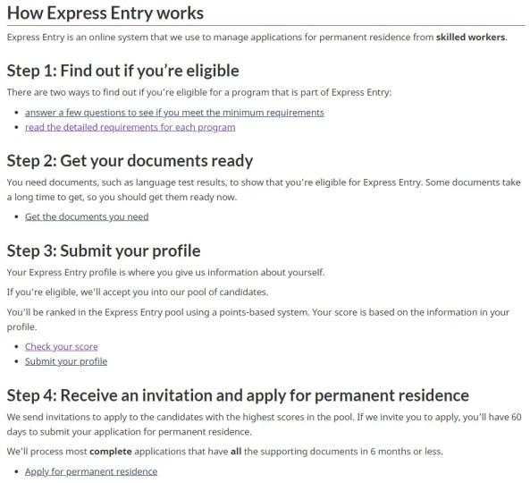 Imagem do site oficial do Ministério de Imigração do Canadá - Express Entry Canada System and Eligibility