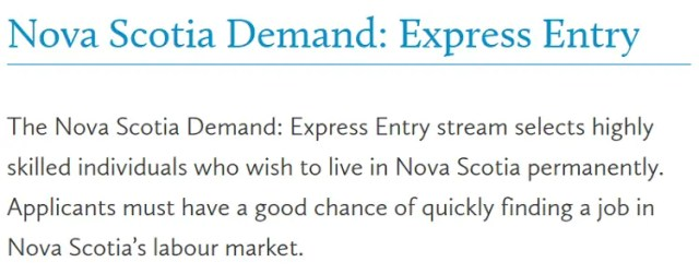Nova Scotia Demand: Express Entry