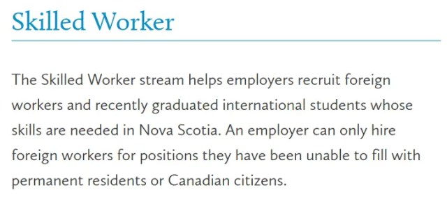 Skilled Worker (Nova Scotia)