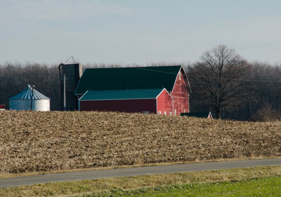 Red Barn with short silo.