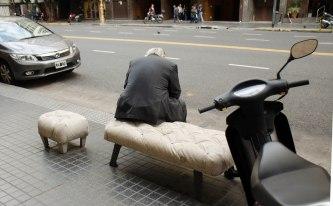 Waiting at the curb.