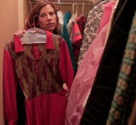 On location filming...inside Suzanne Heintz's wardrobe. The colors and textures of Heintz's childhood that appear in Heintz 's work.