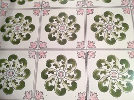 Pink and green tile floor Sorrento Italy