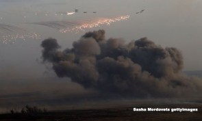 aircrafts bombing dropping bombs on Syria
