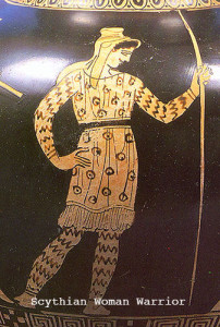 The striped legs of this female warrior show her wearing trousers, which were invented for riding horses