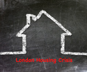 chalk outline of a house on a blackboard with the words London Housing Crisis in red | imjussayin.com | Independent of the good opinion of others |