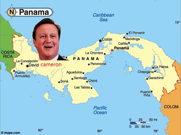 david cameron's head sitting on the island of Panama - tax haven - above the city of David.    www.imjussyin.com