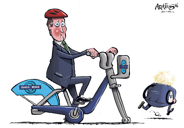 David cameron sitting on a bike and boris has taken the wheels | www.imjussayin.com