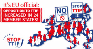 A map of EU indicating the people fighting against TTIP   www,.imjussayin.com