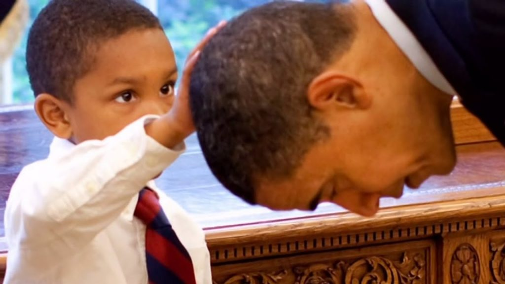 Jacob touching President Obama's hair |  www.imjussayin.com