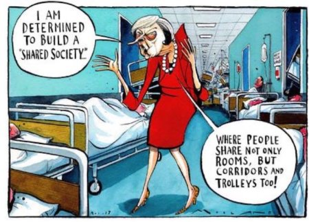 health theresa may in NHS corridor full of all sorts of people | www.imjussayin.com