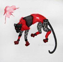 Leopard (black & red) Ink & watercolour on paper, 20x20cm by Imke Rust
