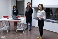 Presenting my art and film on Friday night. With Iryna Polikarchuk and the translator, Olga Tregubova.Photo by Artsvit Gallery