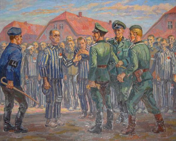Lagerfürer Fritsh vybírá vězně k trestu smrti hladem. Otec Kolbe se hlásí namísto vězně Františka Gajovnička.