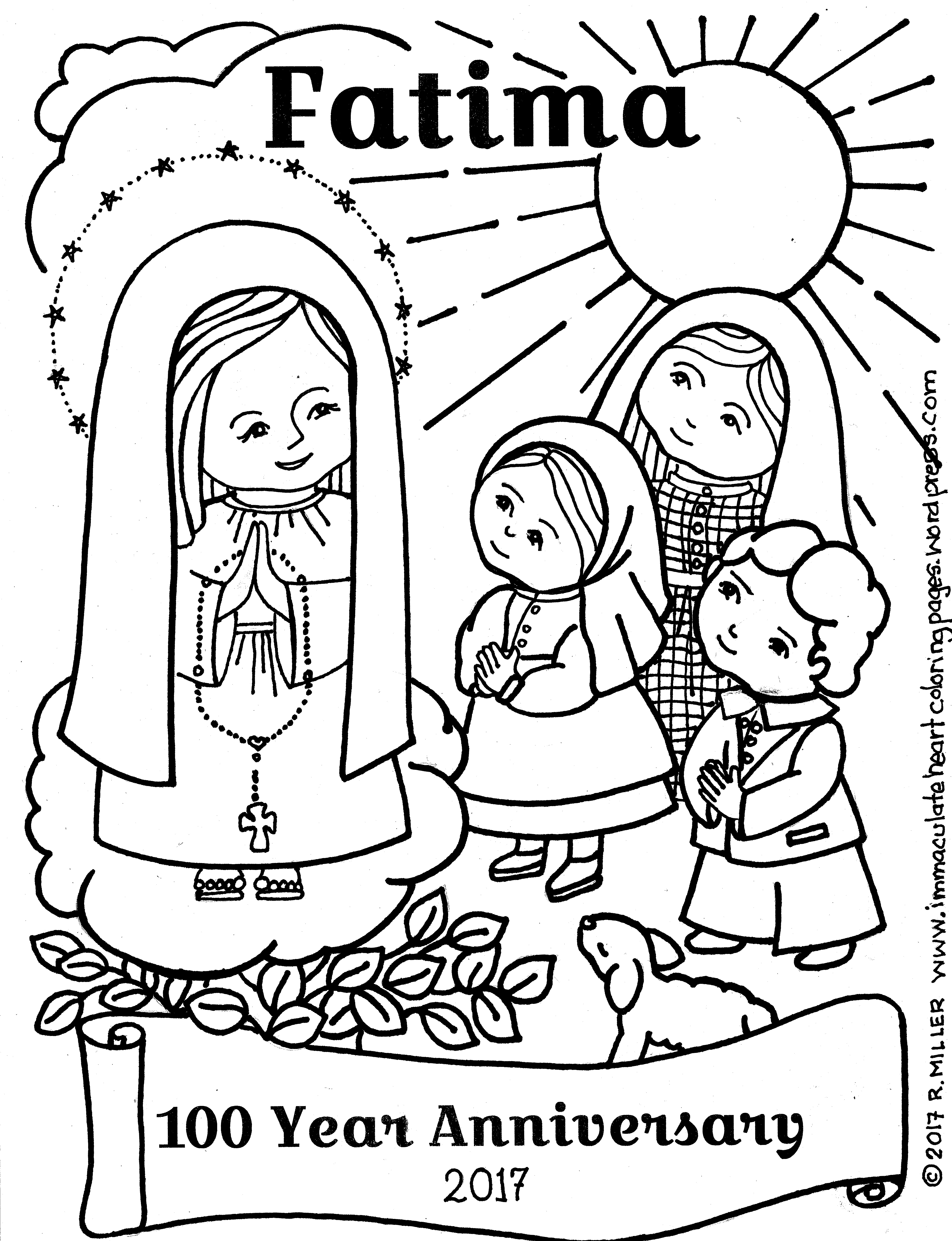 Fatima 100 Year Anniversary Coloring Page Immaculate