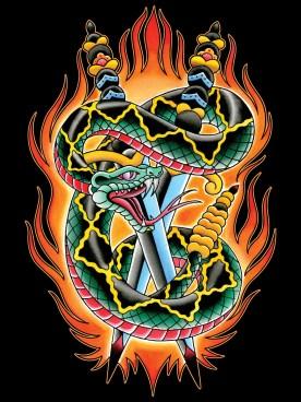 clmn-snake-2daggers-flames