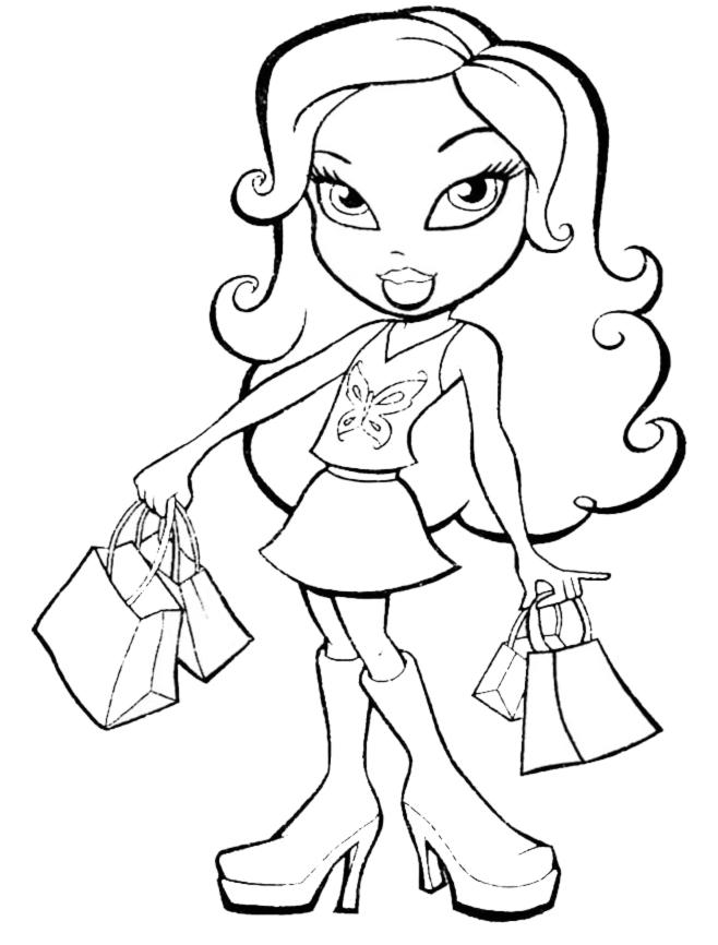 stampa disegno di bratz in shopping da colorare